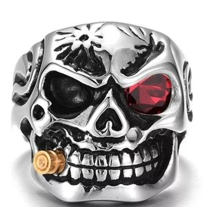 Sz 8 Skull smoke large smoke Biker ring